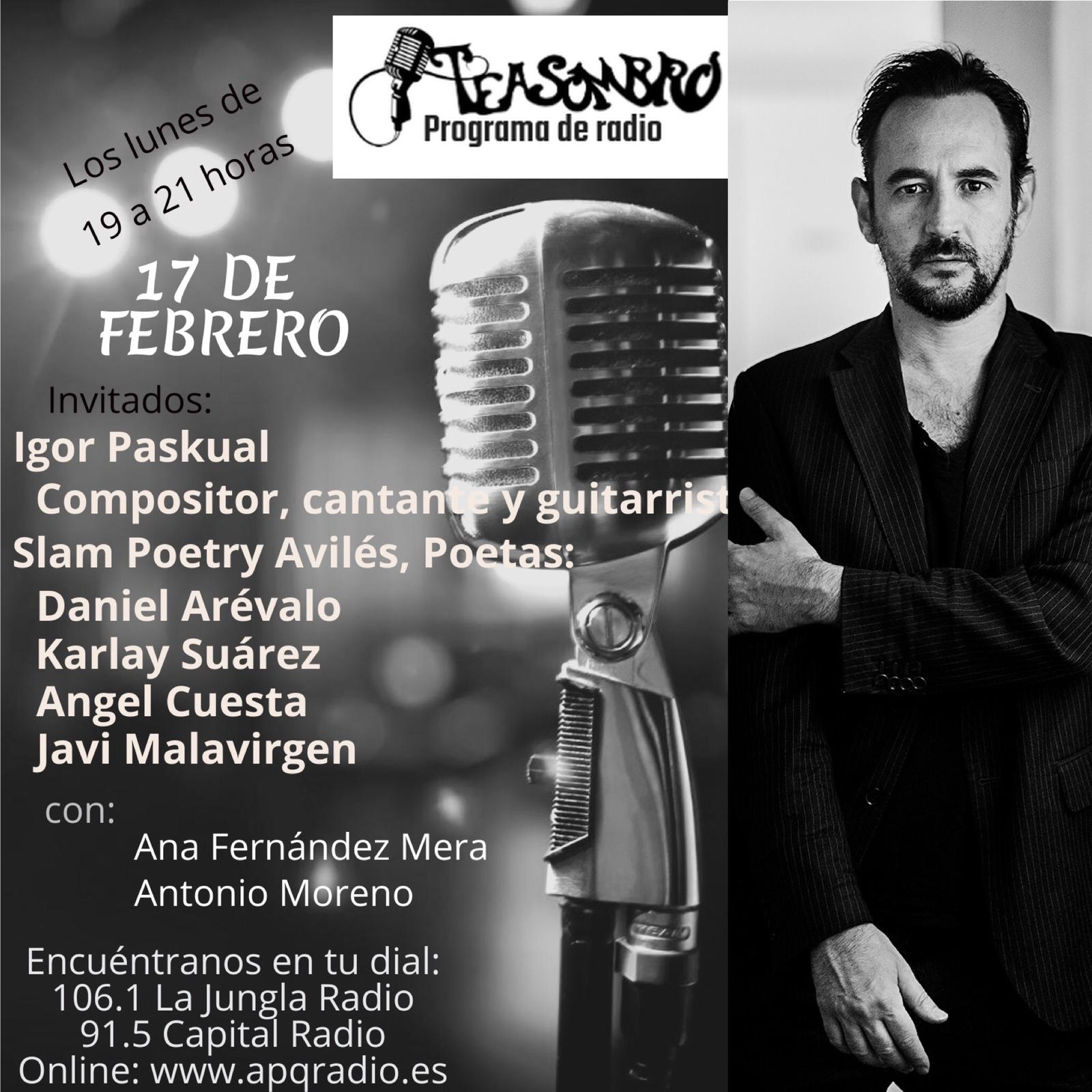 Cartel Programa Teasombro Radio 17 de Febrero